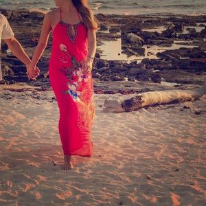 Amazing Red Floral Dress